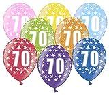 Libetui 10 kunterbunte Luftballons Metallic 30cm Deko zum 70. Geburtstag Party Happy Birthday Dekoration 70 Jahre