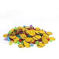 Cusfull Juguete de Pirata 100 pcs Monedas Corsario Oro + 100 Unidades Gema de Colores Joya Tesoro de Capital de Pirata Dinero de Juego para Fiesta de Cumpleaños