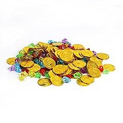 Idea Regalo - Cusfull 100 Pezzi Monete Giocattolo d'Oro del Pirati + 100 Pezzi Diamanti Giocattoli di Acrilici Tesoro Decorazioni per Gioco del Pirata Festa Compleanno di Bambini