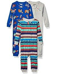 Marchio Amazon - Spotted Zebra 3-Pack Snug-Fit Cotton Footless Sleeper Pajamas Unisex-Bimbi 0-24, Pacco da 3