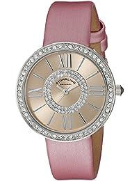 Stuhrling Original Chic – Reloj de cuarzo para mujer con oro rosa esfera analógica pantalla y correa de cuero rosa 566.03