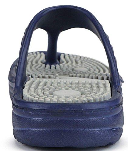 DzVR Comfortable Acupressure Health Care Flip Flops Slipper for Men (9, Grey)
