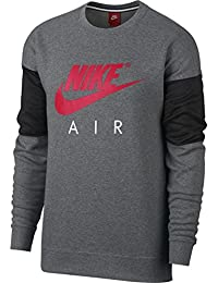 Nike NSW Crew LS Air Carbon Heather Anthracite Siren Red - L