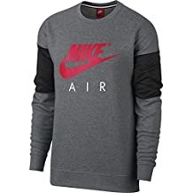 Nike NSW CRW Air Sudadera, Hombre, Gris (Carbon Heather / Anthracite) / Rojo (Siren Red), M