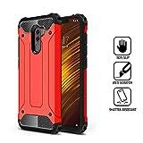DAYNEW Funda para Xiaomi Pocophone F1,PC con TPU Funda Interna Suave,[Tough Armor] Extrema protección y Tecnología de cojín de Aire con Kickstand para Xiaomi Pocophone F1-Rojo