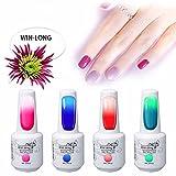 Win-Long - Esmalte de uñas de gel térmico que cambia de color, secado con luz UV LED, para manicura y pedicura, juego de 4 esmaltes de uñas de gel de 8 ml