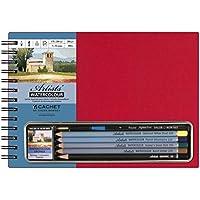 Set matite acquerello, colore: rosso, formato libro bianco carta acquerello con 5matite, spugna e 1pennello