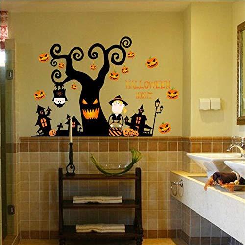 Halloween nacht wandaufkleber DIY schrecklichen baum haus geist haus kürbis lichter dekorative malerei Schlafzimmer Wohnzimmer - Diy Halloween-geister-baum