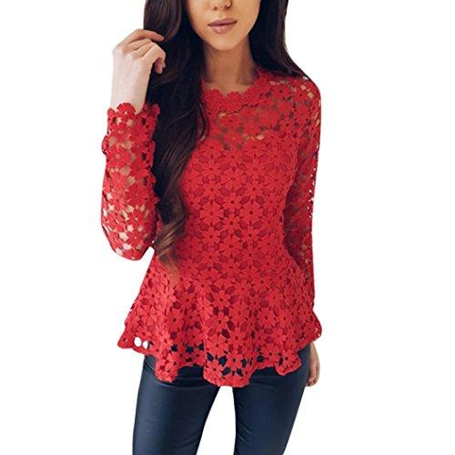 AmazingDays Femme Chemisiers T-Shirts Tops Sweats Blouses Fleurs Dentelle Manches Longues Haut O Cou Chemise Creuse T-Shirt Tee red