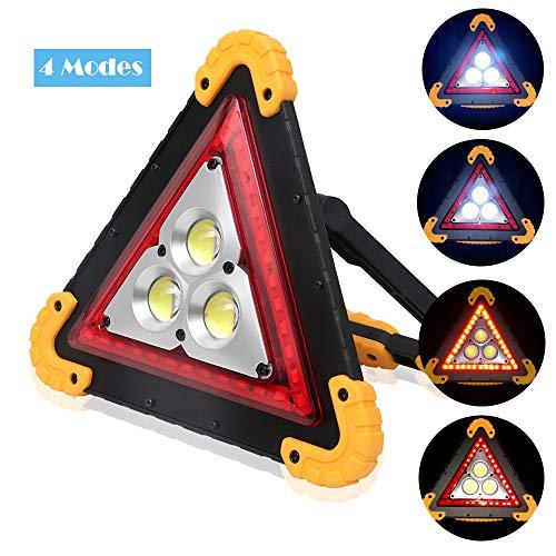 OurLeeme LED Auto Warnlicht, wasserdichtes Dreieck-Notlichtlampe 4 Modi 30W weißes Flutlicht für Notauto-Reparatur, Pannenhilfe, Arbeitsplatzbeleuchtung (Nicht Batterie eingeschlossen)