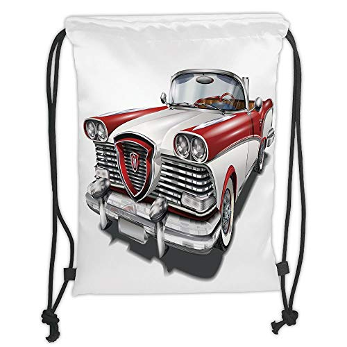 LULUZXOA Gym Bag Printed Drawstring Sack Backpacks Bags,Man Cave Decor,Retro Car in Red and White Exclusive Model Machine Drophead Coupe Decorative,Red White Silver Soft Satinring Maroon Coupe