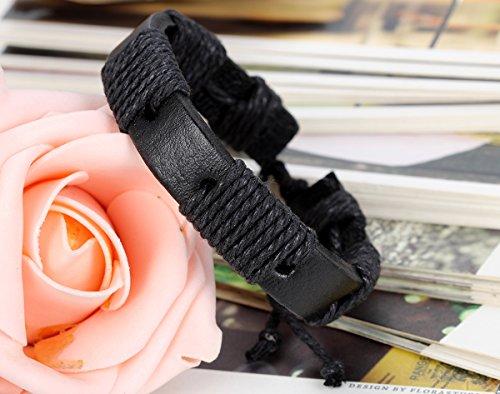 Flongo Bracelet Cuir Leather Corde Tissu CotonMode Tribal Enroulez Réglable Bijoux Cadeau Brun Noir pour Femme Homme noir