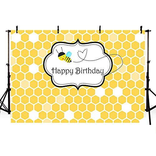 ienen-Tagesbienenwaben-Frühlings-süße Bienen-Thema-Prinzessin Girl Happy Birthday Party Backdrop Fotografie-Hintergrund-Foto-Fahne Neugeborenes Baby-Porträt-Foto ()