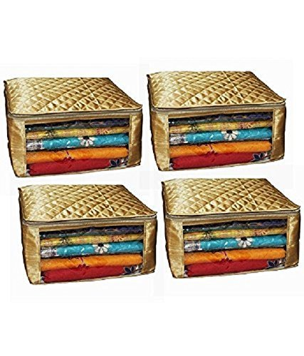 Kuber Industries™ Saree cover Set of 4 Pcs large size in golden...