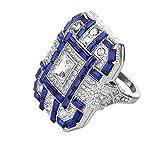 Quaan Herrlicher Diamantring des Art und Weisering Herrschsüchtiger Voller Diamant Eingelegt mit Mikro-Eingelegtem Zirconring Gruppenring(Silber,8#)