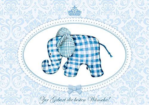 Geburtskarte Babykarte Glückwunschkarte zur Geburt: Zur Geburt die besten Wünsche! Süsse Baby Geburtsanzeige in Blau für einen Jungen mit niedlichen Stoff Elefant mit Umschlag (1)