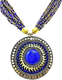 Muccasacra Royal Blue Stone Show Stopper Hand Crafted Medallion Brass Necklace