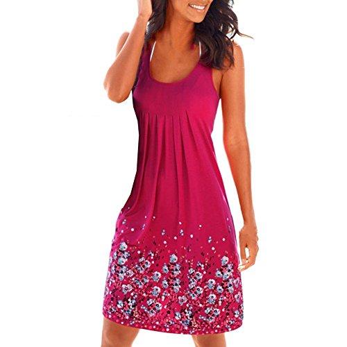 Damen Sommer Knielang Rundkragen A-Linie Kleid Blumendrucken Kleid Lose Kleid Sommerkleid Westerockkleid Sommerkleid Rose