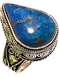 RADHEY SILVER SHOP LAPIS LAZULI VINTAGE STYLE GEMSTONE 925 STERLING SILVER JEWELRY RING 8.5