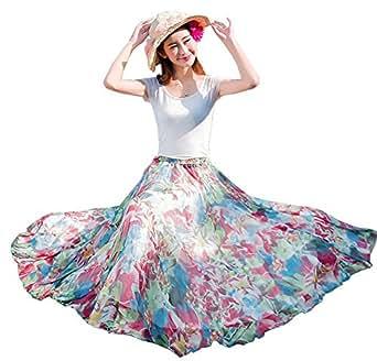 Izacu Flocc Womens Blending Chiffon Retro Long Maxi Skirt Vintage Dress2025 (1011red)