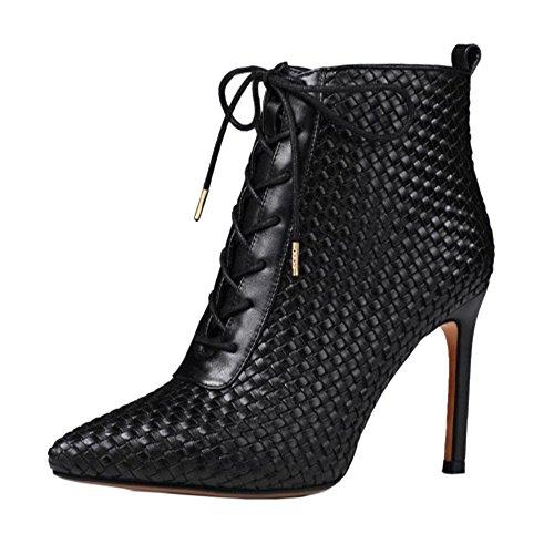 TAOFFEN Damen Elegant Stiletto Kurze Stiefel Reißverschluss Knoechel Stiefel Schwarz