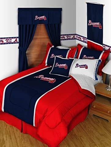 Atlanta Braves MVP Bedding Set-Twin-includes comforter, sheet set, 1 sham, bedskirt, 1 pillow by Sports Coverage