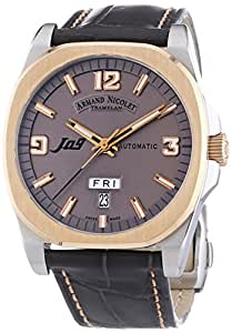 Armand Nicolet Unisex Automatic Watch with Grey Dial Analogue Display and Grey Leather Strap 8650A-GS-P965GS2