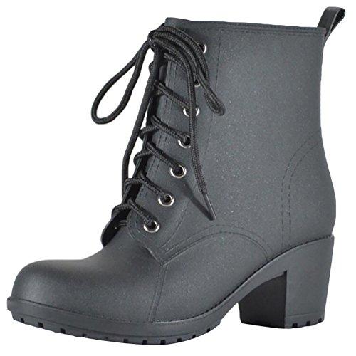 LvRao Frauen Hoher Absatz Gummistiefel Schnürung Schnee Regen Schuhe Wasserdichte Wellies Kurze Stiefel Schnürstiefel Schwarz