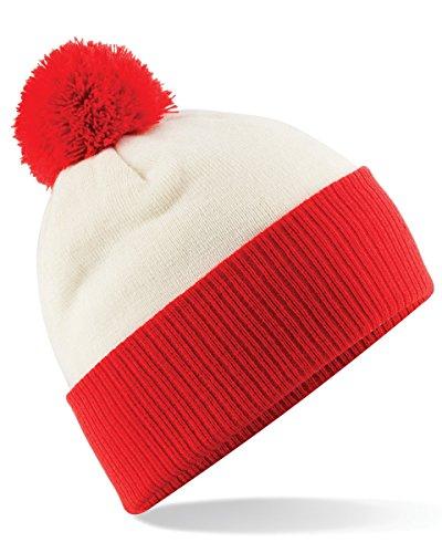 White Kostüm Walter Brille - Modische Unisex Winter Bommelmütze Snowstar in Kontrastfarben, Farbe:Off White/Bright Red;Größe:One Size