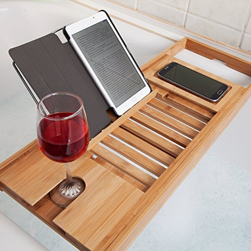 woodluv Luxus Bad Brücke Badewanne Caddy Tray Rack Badezimmer Regal, Bambus