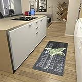 Hanse Home 101742 Teppichläufer, Polyamid, grau / grün, 80 x 200 x 0.8 cm