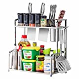 Küchenwagen HWF 2-Tier-Küche Gewürzregal Arbeitsplatte Essstäbchenhalter Regal Multifunktions-Arbeitsplatte Organizer
