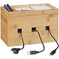 Relaxdays Kabelbox Bambus, Multi Ladestation Holz, Kabelmanagement  Schreibtisch, H X B X T
