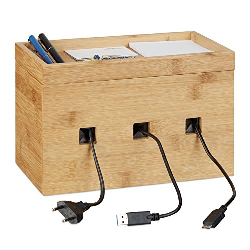 Relaxdays Caja de Cables Decorativa, Bambú, Beige, 16.5 x 25.5 x 14 cm