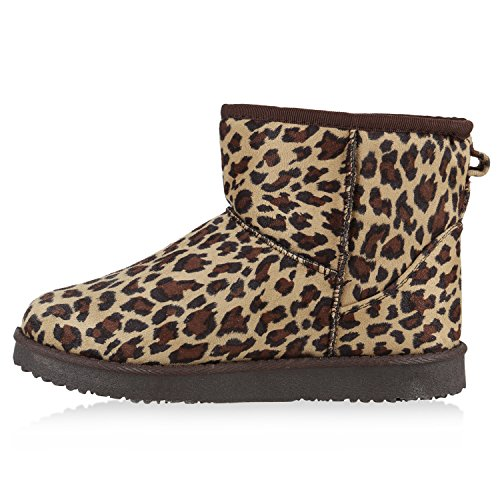 Damen Schuhe Schlupfstiefel Warm gefüttert Leopard Braun