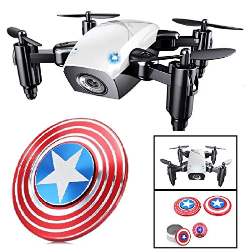 Premsons® RC Drone Mini Selfie Pocket Drone Quadcopter with Camera Live Video Headless Mode with RC Toys for Kids & Beginners with Surprise Gift ( with Camera, S9w ) - White