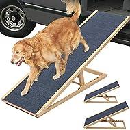 XEMQENER Solid Wooden Pet Ramp Car Dog Ladder - Height Adjustable with Non-slip Carpet Safety Pets Ladder (L70xW35cm, H30-40cm)