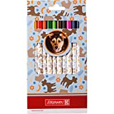 BRUNNEN Fans of Earth Hund, Jumbo-Buntstifte,12 dicke Buntstifte im Etui, Dreikantform