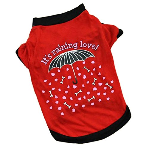 FEITONG New Summer Pet Puppy Small Dog Cat Vêtements Pet Vest T-shirt Habillement (S, Rouge)