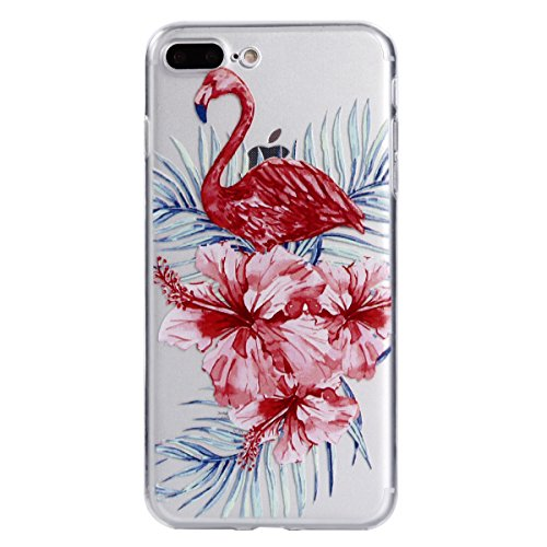iphone 7 Plus / iphone 8 Plus Hülle, iphone 7 Plus / iphone 8 Plus Schutzhülle, iphone 7 Plus / iphone 8 Plus Silikon Hülle , iphone 7 Plus / iphone 8 Plus Soft Case,Cozy Hut Flamingo Muster Design Hülle Case[Crystal Clear] Transparent Handyhülle Dünn Backcover Handyhülle Premium Kratzfest TPU Durchsichtige Schutzhülle für iphone 7 Plus / iphone 8 Plus - Roter Blumenflamingo