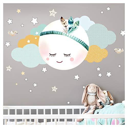 Little Deco Wandaufkleber Kinderzimmer Junge Mond & Wolken I Mint/Grau L - 92 x 54 cm (BxH) I Wandtattoo Babyzimmer Wandsticker selbstklebend Sterne Blumen Kinder DL246