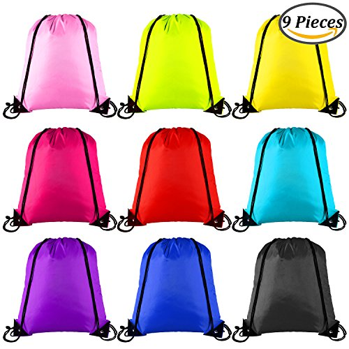 Keriber 9 Colors Drawstring Backpack Bag Tote Sack Bag Cinch Gym Bags for Gym Sport or Travel Storage, 9 Pieces (mixed colour)