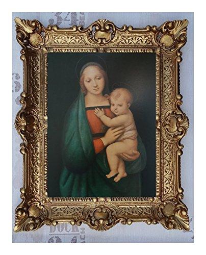 Bild Bilder Gemälde mit Ornamentverziehrungen in den Rahmen montiert 56x46 cmReligiös Mutter Maria Gottes Maria Jesus Christus Kruzifix Engel Repro Antik Wandbilder Religion - moderne Wanddekorationen (M40-K20)