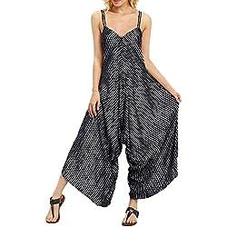 Pantalon Sarouel Femme Grande Taille Casual,Soldes Combinaison Large à Rayures et à Bretelles Décontractée Loose Pantalons Jumpsuit Kinlene