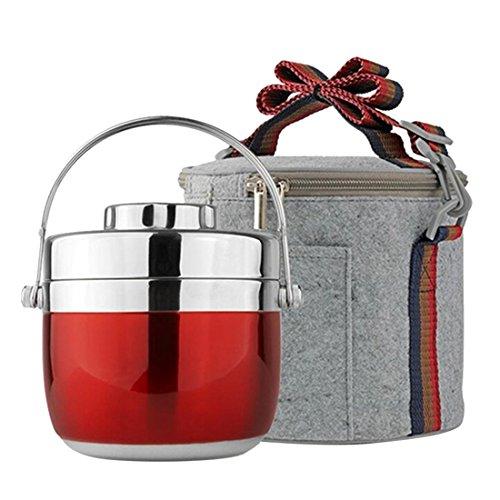 enerhu Vorratsbox garde-chaud Edelstahl mit Kühltasche, Edelstahl, rostfrei, rot, Comme la photo