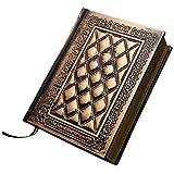 Tapa dura cuaderno de cuero repujado libro diario de la manera de la vendimia