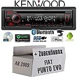 FIAT Punto EVO / 199 - Autoradio Radio Kenwood KDC-BT430U - Bluetooth   Spotify   CD/MP3/USB - Einbauzubehör - Einbauset