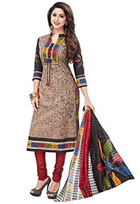 Ishin Cotton Brown & Red Printed Unstitched Salwar Suit Dress Material (Anarkali/Patiyala) With Cotton Dupatta