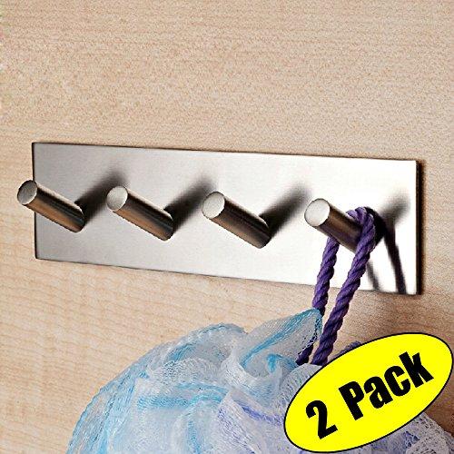 KES Selbst Klebe Haken Schienen Rack Sticky Stick Auf Mantel und Kleid Schlüssel Haken SUS 304 Edelstahl Gebürstet Fertig 4-Haken 2-Stück, A7063H4-P2 (Satin Handtuchhalter Gatco)