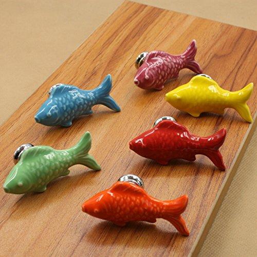 FBSHOP(TM) 6pcs Mulit Schön Fisch Form Keramik Türknauf /MöbelKnopf /Möbelgriffe für Küche Schränke, Kleiderschrank, Kommode, Schublade,Schranktür Schlafzimmer und Badezimmer KinderZimmer Dekor etc. -